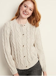 Cable-Knit Crew-Neck Cardi for Women