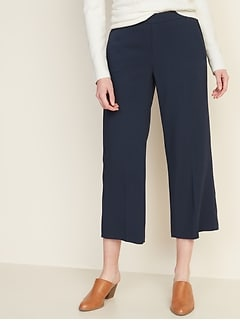 Mid-Rise Pull-On Wide-Leg Pants for Women