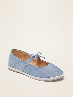 Glitter-Trim Chambray Ballet Flats for Girls