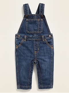 Unisex Dark-Wash Jean Overalls for Baby
