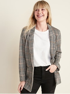 Patterned Boyfriend Blazer for Women