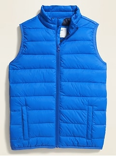 Water-Resistant Quilted Nylon Zip Vest for Boys
