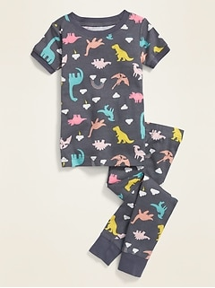 Unisex Dino-Print Pajama Set for Toddler