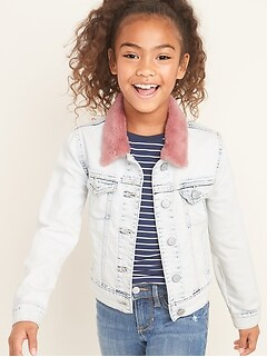 Faux-Fur Collar Jean Jacket for Girls