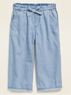 Chambray Frayed Wide-Leg Pull-On Pants for Toddler Girls