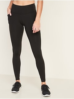 Mid-Rise Elevate Side-Pocket Mesh-Trim Compression Leggings for Women