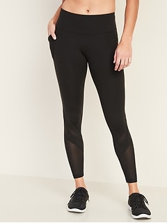 Mid-Rise Elevate Side-Pocket Mesh-Trim 7/8-Length Leggings for Women