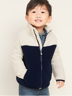 Color-Blocked Sherpa Zip Jacket for Toddler Boys