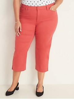 Mid-Rise Secret-Slim Pockets Pixie Chino Plus-Size Capri Pants