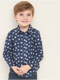 Built-In Flex Printed Poplin Shirt for Toddler Boys