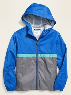 Water-Resistant Hooded Color-Blocked Windbreaker for Boys