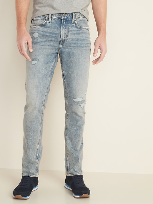 Relaxed Slim Built-In Flex Distressed Acid-Wash Jeans for Men