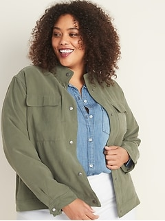 Soft Twill Plus-Size Utility Jacket