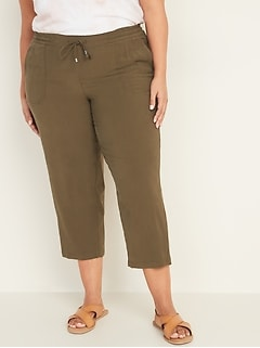 Mid-Rise Plus-Size Pull-On Soft Cropped Utility Pants