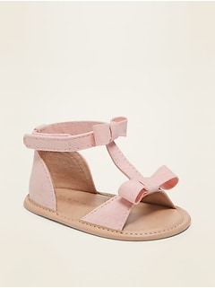 Linen-Blend Bow-Tie T-Strap Sandals for Baby