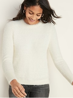 Crew-Neck Eyelash Sweater for Women