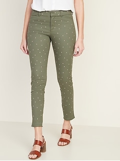 Mid-Rise Embroidered-Dot Pixie Ankle Chino Pants for Women