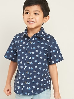 Printed Poplin Shirt for Toddler Boys