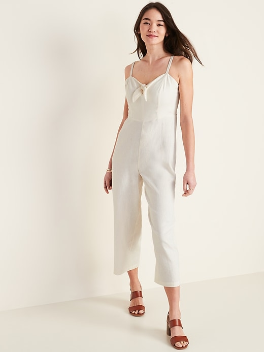 Tie-Front Linen-Blend Cami Jumpsuit for Women