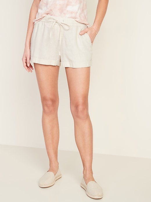 Mid-Rise Linen-Blend Shorts for Women - 4-inch inseam