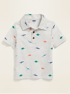 Patterned Jersey Polo for Toddler Boys