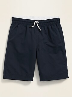 Tipped-Waist Solid-Color Swim Trunks for Boys