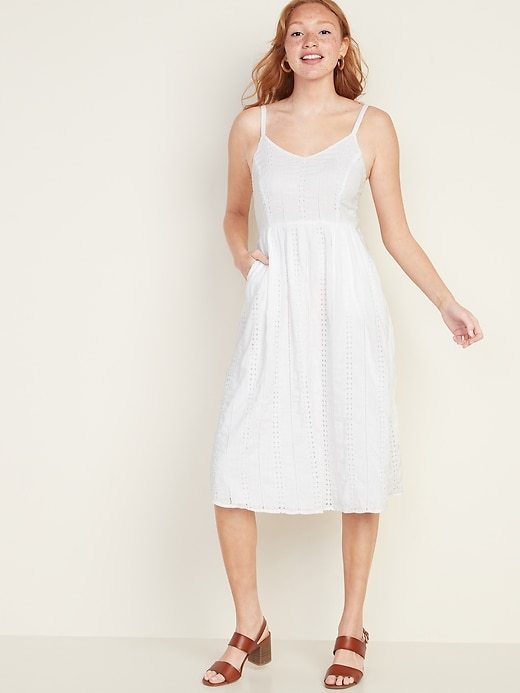 Fit & Flare Eyelet Cami Midi Dress for Women