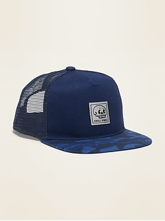 Graphic Flat-Brim Trucker Hat for Boys