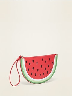 Faux-Leather Watermelon Wristlet Bag for Women