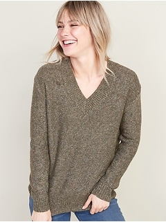 Soft Slouchy V-Neck Sweater for Women