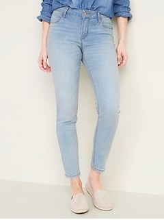 Mid-Rise Light-Wash Super Skinny Ankle Jeans for Women