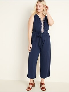 Embroidered Tie-Belt Jersey Plus-Size Jumpsuit