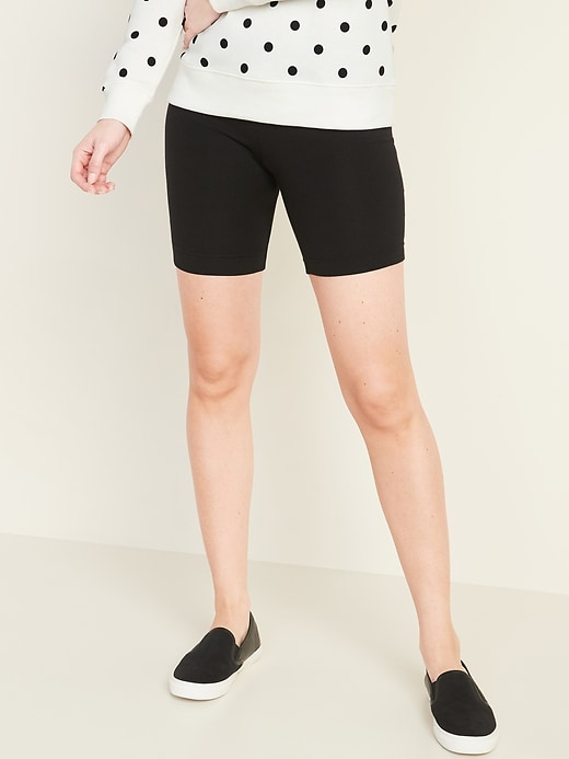 Mid-Rise Jersey Biker Shorts for Women -- 7-inch inseam