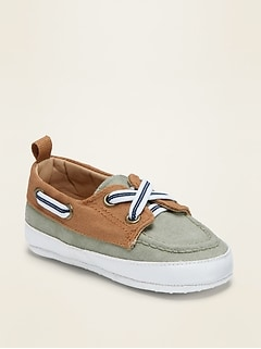 Color-Blocked Twill Boat Shoes for Baby