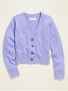 V-Neck Cardigan Sweater for Girls