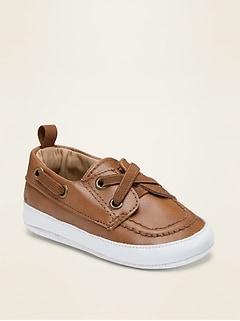 Faux-Leather Boat Shoes for Baby