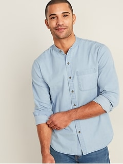 Slim-Fit Built-In Flex Chambray Banded-Collar Shirt for Men