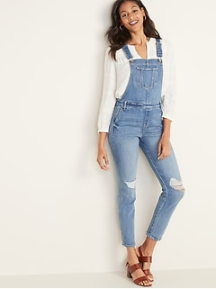 Distressed Jean Side-Zip Overalls for Women