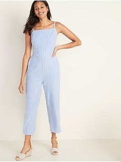 Square-Neck Linen-Blend Striped Cami Jumpsuit for Women