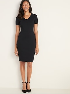 Ponte-Knit V-Neck Sheath Dress for Women