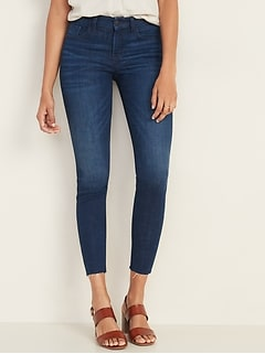 Mid-Rise Frayed-Hem Rockstar Super Skinny Ankle Jeans for Women