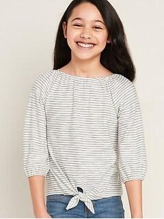 Striped Tie-Hem Top for Girls