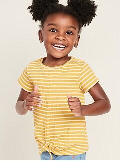 Striped Textured-Knit Tie-Hem Top for Toddler Girls