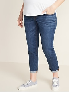 Maternity Full-Panel Boyfriend Straight Jeans