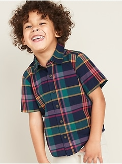Plaid Poplin Shirt for Toddler Boys