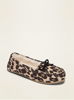 Faux-Suede Faux Fur-Lined Moccasin Slippers for Women