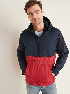 Water-Resistant Packable 1/2-Zip Hooded Jacket for Men