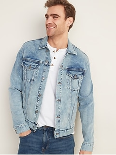 Acid-Wash Built-In Flex Jean Jacket for Men
