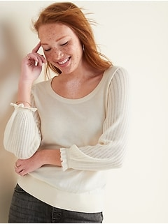 Lightweight Pointelle-Sleeve Sweater for Women