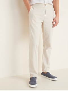 Slim Built-In Flex Linen-Blend Interior Drawstring Pants fro Men